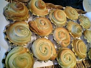 抹茶シートの折込パン
